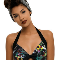 Too Fast Skull Floral Swim Top