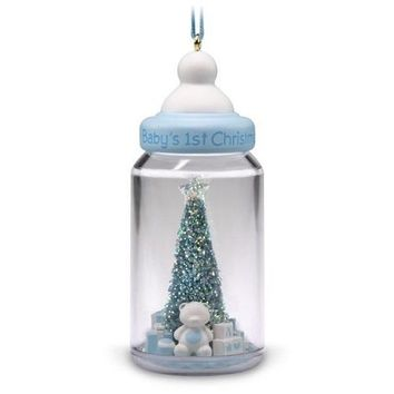 Baby Boy's First Christmas Baby Bottle 2018 Ornament