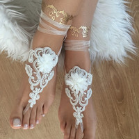 beach wedding barefoot sandals ivory lace barefoot sandals, FREE SHIP, belly dance, lace shoes, bridesmaid gift, beach shoes