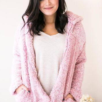 Candy Paint Sherpa Hoodie with Zipper - Pink