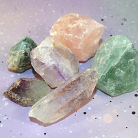 Raw Crystals of Protection, Balance, and Growth // Meditation Crystals with Healing Powers // Pastel Goth Amethyst, Fluorite, and Quartz