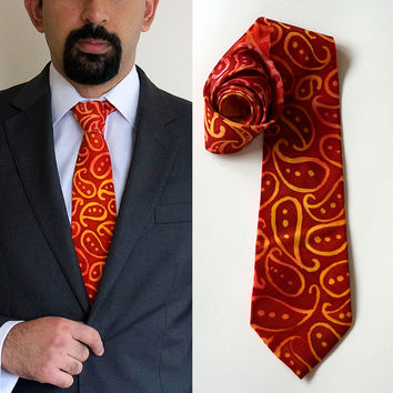 Summer Paisleys tie, red crepe-de-chine silk tie, handpainted silk tie, one-of-a-kind, paisleys, red and yellow tie, red silk, gifts for him