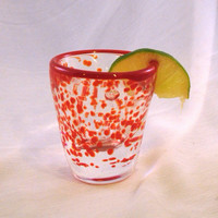 Hand Blown Shot Glass. Hand Blown Barware with Red Trim. OOAK.