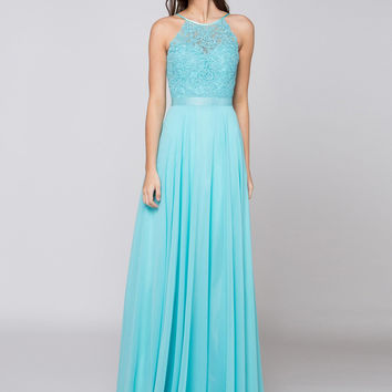 GLOW G703 Halter Top Applique Bust Chiffon Prom Evening Dress