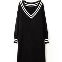 Black V-neck Striped Long Sleeve Maxi Sweater Dress