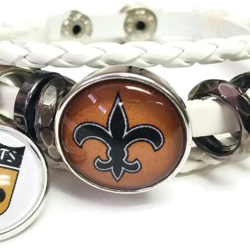 NFL Old Gold And Shield Logo New Orleans Saints Bracelet Football Fan White Leather W/2 18MM - 20MM Snap Charms New Item