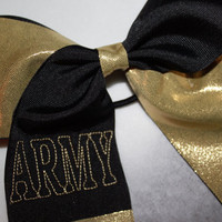 Army black and gold cheer bow