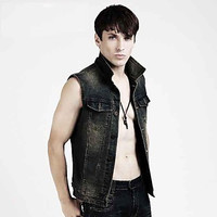 Men's Fashion Sleeveless Denim Jacket/ Vest