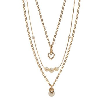 Juicy Couture Crown & Heart Multistrand Necklace (White)