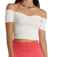 Textured Off-the-Shoulder Crop Top by Charlotte Russe - White