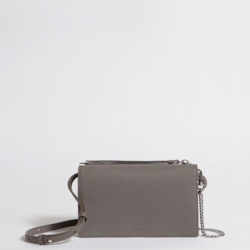 ALLSAINTS US: Womens Fetch Leather Chain Crossbody Bag (storm_grey)