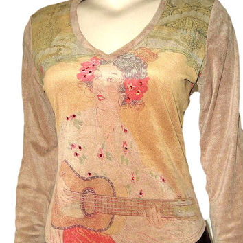 Vintage GITANE Paris Antique Art Deco French Bohemian Gipsy Print Sequined Sueded Long Sleeve Top M