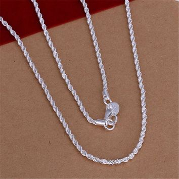 Hot Sale Retail Wholesale Super Shiny Silver Necklace Women Man Necklace 2mm 16-24inch Twist Rope Chain Jewelry Accesory 925