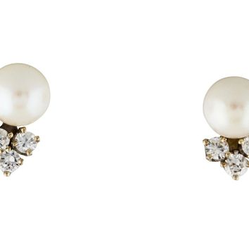 Beautiful Classic 14K Gold White 6.5-7mm Cultured Pearl and Diamond Stud Earrings, 0.36 Carats
