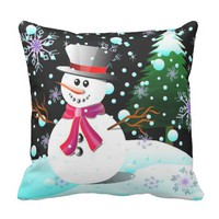 Snowman merry Christmas Throw Pillow