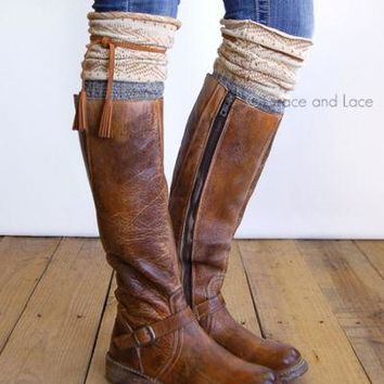 Tahoe Tassel Boho Boot Socks Ivory / Camel / Gray Slouch Top Over The Knee Thick Waffle Knit Camel Vegan Leather Tassles