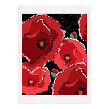 Belle13 Red Poppies On Black Art Print