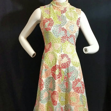 Vintage Plymouth New York Colorful Flower Polka Accent Dress/GoGo Boot Dress/Vintage Late 1950' Fashion Dress/Vintage Early 1960s Dress