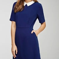 A-Line Short-Sleeve Collared Dress With Pockets