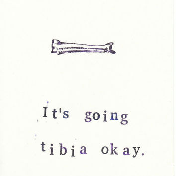 Funny Vintage-Stamped Skeleton Anatomy Card: Tibia