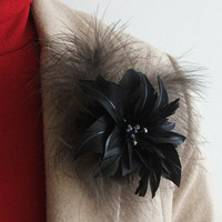"""Real Feather Brooch """"Black Lily"""" - Feather and Flower Jewelry - Feather Brooch Pin -Black"""