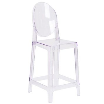 Flash Furniture Ghost Counter Stool in Transparent Crystal with Oval Back - Walmart.com