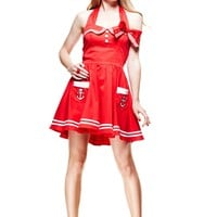 Hell Bunny Nautical Sailor Pinup Mini Red Sailor Halter Dress