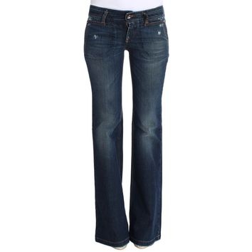 Costume National Blue Cotton Flare Boot Cut Jeans