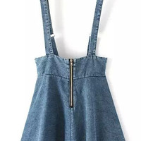 Blue Zip Up Denim Jumper Skirt