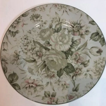 PTS Intl. Interiors Antique Rose Stoneware Dinner Plate Green Pink Roses & Buds