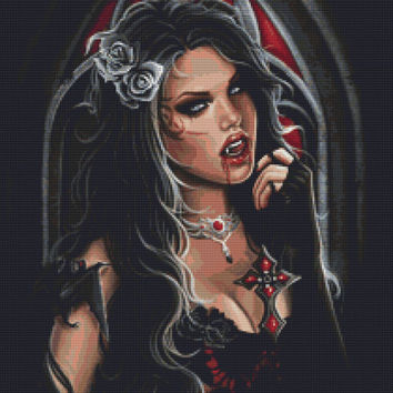 Modern Cross Stitch Kit 'Vampire' By Anna Marine - NeedleCraft Kit