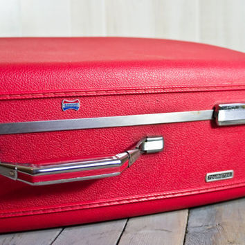 Vintage suitcase, Red American Tourister Luggage, Suitcase, Photograpy props