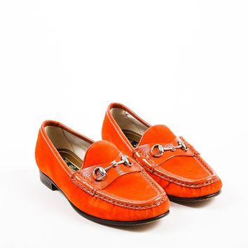 """Gucci Red Velvet Patent Leather Silver Tone Horsebit """"Roos 1953"""" Loafers"""