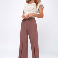 On The Daily Mauve Wide-Leg Pants