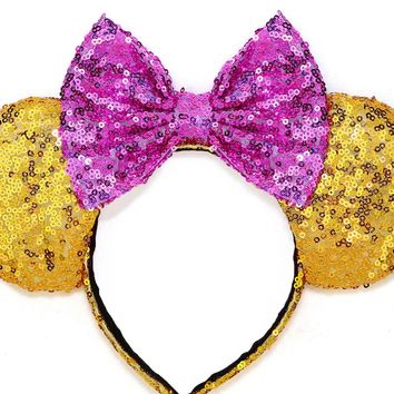 Gold Sequin Ears and Orchid Bow