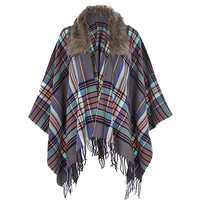 River Island Womens Grey check faux fur trim cape