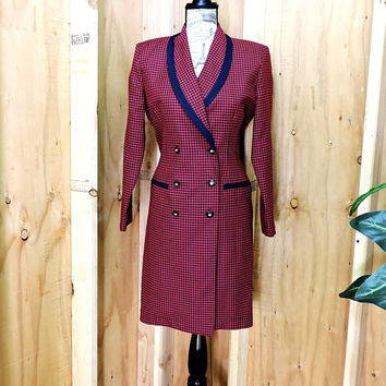 Red Blue Houndstooth dress 7 / 8 / vintage 80s hounds tooth dress / retro plaid blazer dress / long coat jacket / Danny & Nicole New York