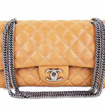 Auth CHANEL Shoulder Bag Chain Double Flap Vintage processing W25cm W10inch Pink