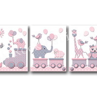 Pink nursery wall decor baby girl room wall art pink gray elephant nursery poster kids room artwork children room decoration giraffe print