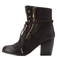 Black Chunky Heel Lace-Up Booties by Qupid at Charlotte Russe