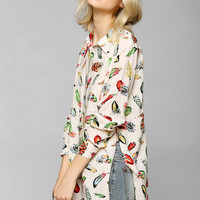 byCORPUS Feather Split Button-Down Shirt - Urban Outfitters