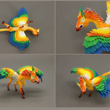 Dragon Figurine Sculpture Sun Conure Sun Dracogriff Yellow Colorfull