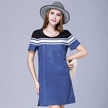 OCHANAL Women's Plus Size Webbing Color Block Summer Denim Shift Dress Blue xl,2xl,3xl,4xl,5xl