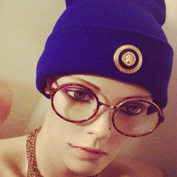 Royal Blue Versace Beanie  by LitteredNation on Etsy
