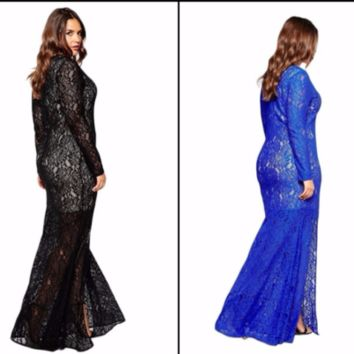 Black  Blue Full Lace Fishtail Maxi Long Gown Evening Cocktail Party Dress Plus