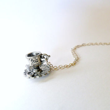 BLACK FRIDAY SALE Sterling Silver Tea Time Alice in Wonderland Necklace, 925 Sterling Silver Chain, Cute And Kawaii :)