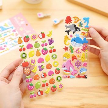 DIY Cute Kawaii Cat Rabbit PVC Stationery Stickers Cartoon Animal Fruit Sticky Paper For Scrapbooking Diary Free Shipping 3334