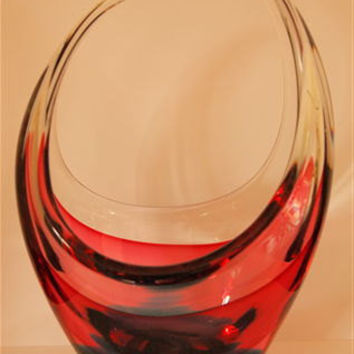 A Fabulous Murano Sommerso Vase Red and Green with Clear Glass Casing