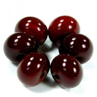 Opaque Cranberry Medium Red Dark Handmade Lampwork Glass Beads 432dk Shiny (Choices of Etched, .999 Fine Silver, Shapes, Sizes, Large Hole Beads Extra)