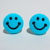 Smiley Face Post Earrings Blue Stud Jewelry Purple Yellow Green Pink Free Shipping Neon Cute Colorful Happy Hace Joy Bright